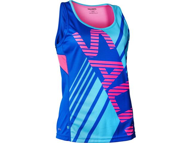 Salming Race Hardloopshirt zonder mouwen Dames roze/blauw
